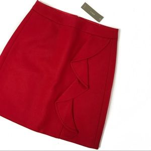 j.crew • ruffle mini skirt in double-serge wool